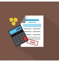 Calculator coins and debit list flat vector image