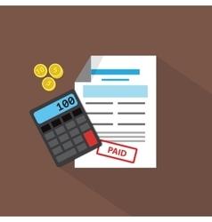 Calculator coins and debit list flat vector