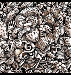 cartoon doodles africa seamless pattern vector image