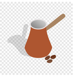 Cezve for coffee and coffee beans isometric icon vector