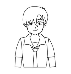 character boy anime teenager outline vector image