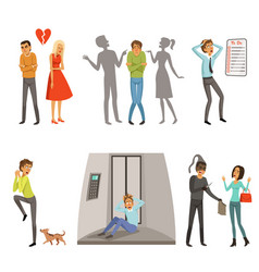 Characters in different scenes panic fear vector