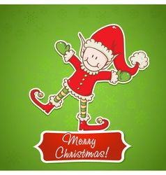 Christmas card with cute little elf Santa helper vector image