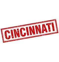 Cincinnati red square grunge stamp on white vector