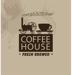 Coffee houses with a vintage steam locomotive vector