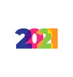 colored 2021 happy new year elegant design of vector image