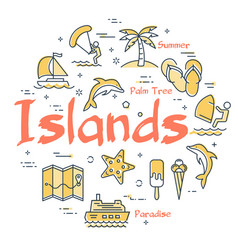 colorful icons in summer islands theme vector image