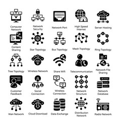 Connection and communication solid icons pack vector