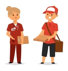 Courier characters workers people vector