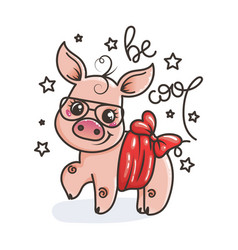 Cute cartoon baby pig in a cool sunglasses vector