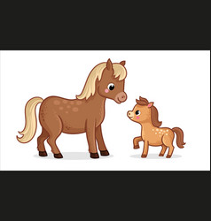 cute horse with foal on a white background in vector image