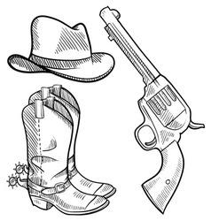 doodle cowboy boots hat gun vector image