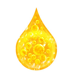 Drop oil inside with oxygen bubbles macro vector