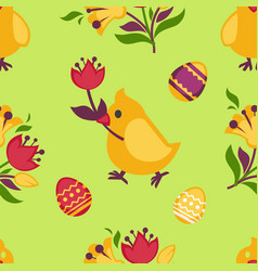 Easter seamless pattern with yellow chicken and vector