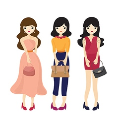Fashion Girl And Woman Cartoon vector