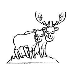 Figure cute elk animal couple together vector