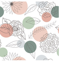 flowers and leaves seamless pattern background vector image