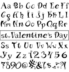 Font of hearts Isolated on white background vector image