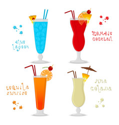 For set alcohol cocktails blue vector