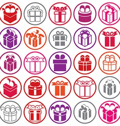Gift boxes icons isolated on white background set vector image