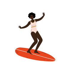 girl surfer in swimsuit riding surfboard catching vector image