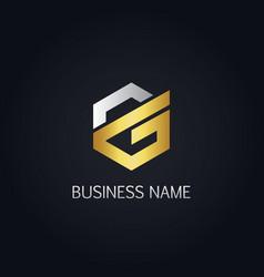 gold polygon line letter g logo vector image