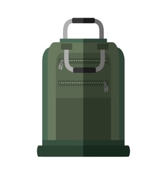 green suitcase packback travel bag tourist shadow vector image