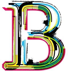 Grunge colorful font Letter B vector