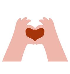Hand gesture making heart symbol inside red heart vector