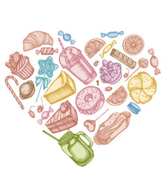 Heart design with pastel cinnamon macaron vector