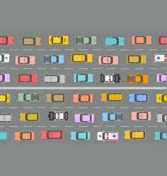 Highway traffic jam top view vector