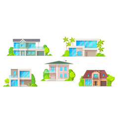 houses cottage and apartment building icons vector image