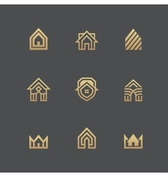 Houses logo set on black background vector image