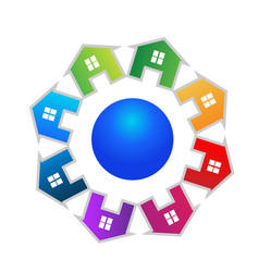 houses team circle group real estate logo vector image