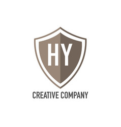 initial letter hy shield design loco concept vector image