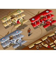 Isometric Old Vintage Biplanes in Rear View vector image