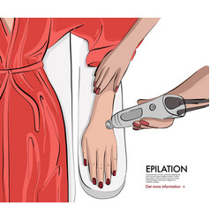 Laser epilation natural hand shaving in spa salon vector