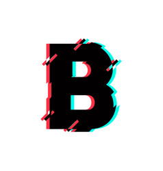 logo letter b glitch distortion diagonal vector image