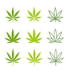 Marijuana leaves icons vector
