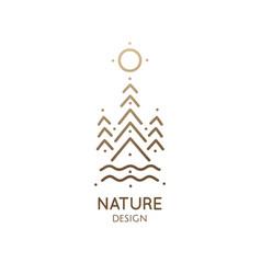 minimal doodle landscape logo vector image