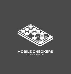mobile checkers logo vector image