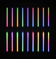 Neon brushes halogen or led lamp on transparent vector