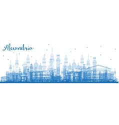 Outline alexandria egypt skyline with blue vector