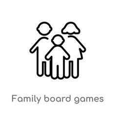 Outline family board games icon isolated black vector
