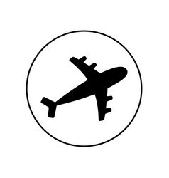 plane round line icon black silhouette shape vector image
