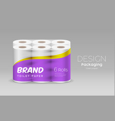 Plastic long roll toilet paper purple packaging vector