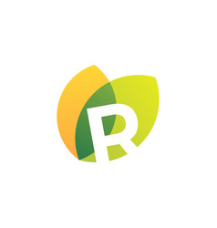 R letter leaf overlapping color logo icon vector