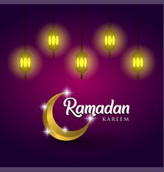 Ramadan kareem and lanterns on purple background vector