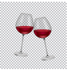 realistic glass with wine on a transparent vector image