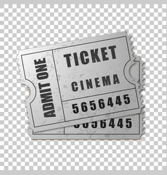 realistic two silver cinema tickets isolated vector image